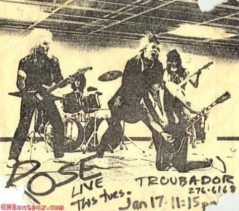 Flayer GNR ketika pertama kali tampil di Troubadour 17-1-1984