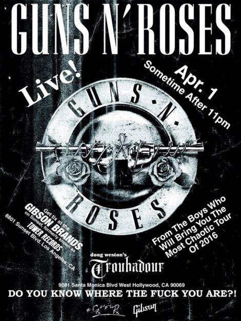 Poster Konser GNR 01 April 2016 - Troubadour, Hollywood, CA
